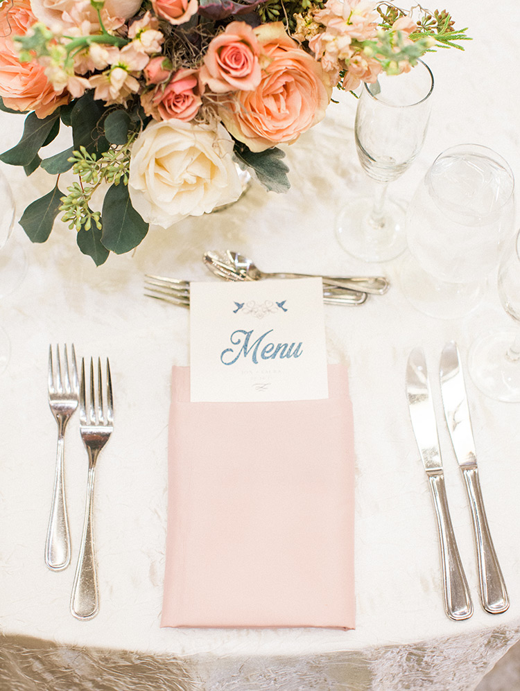 wedding reception with peach & blush details