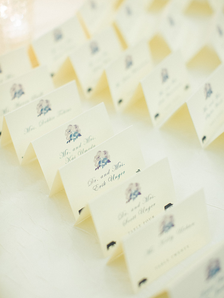 escort cards with watercolor touches, wedding reception