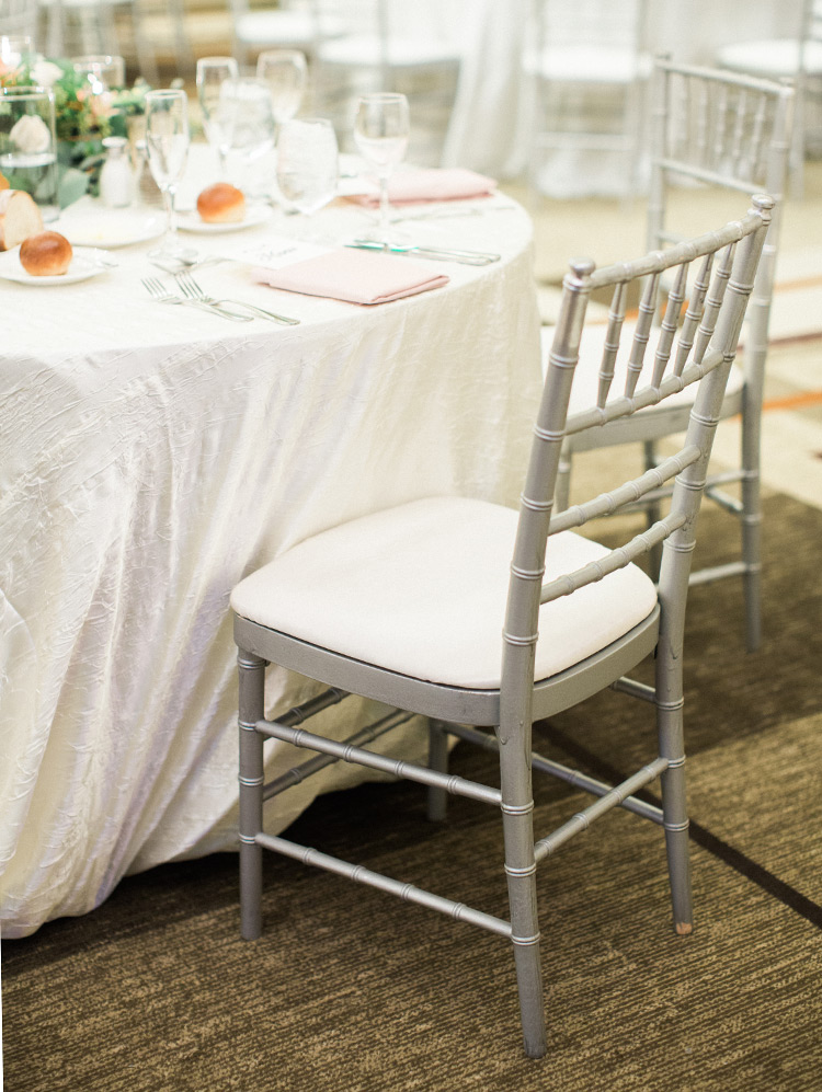 ballroom wedding reception with peach & blush details