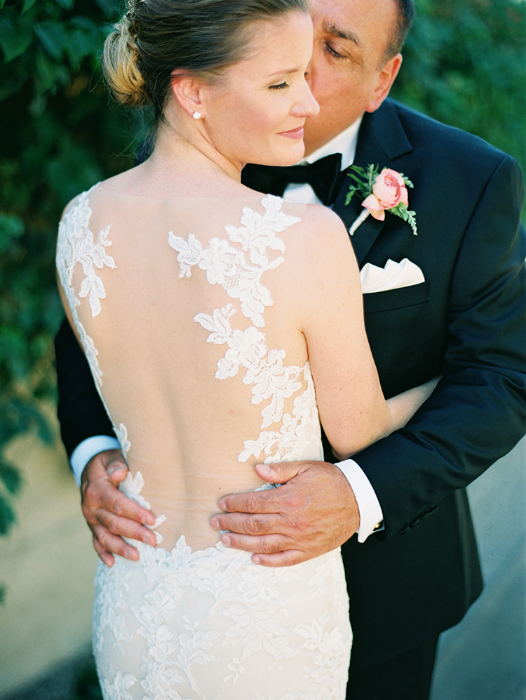 Lace & illusion back wedding gown