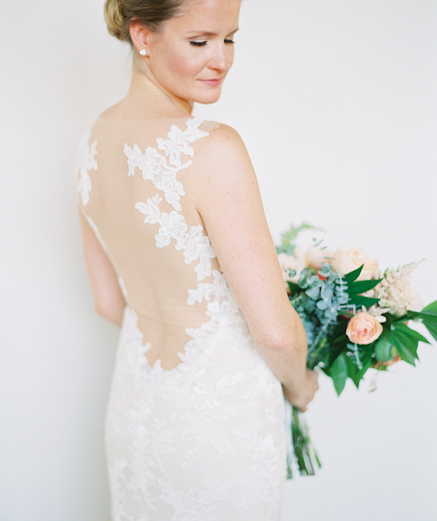 illusion & lace back wedding dress