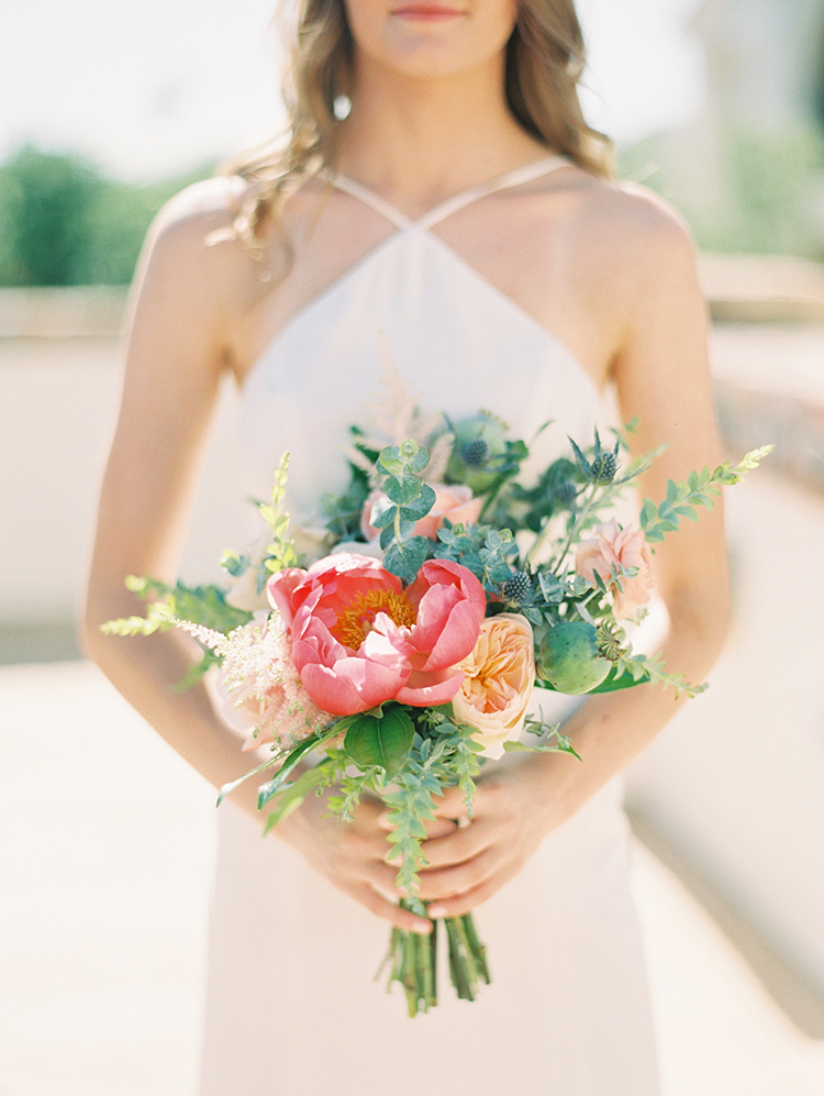 bridesmaid bouquet of peonies, thistle, poppy pods