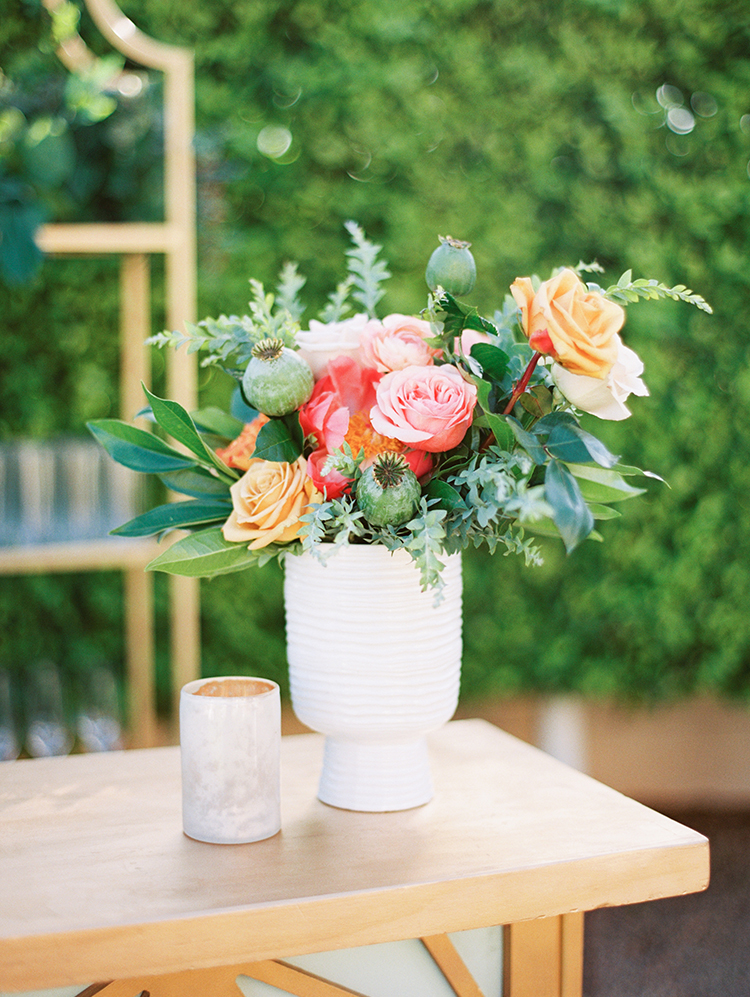 reception decor - roses & peonies with poppy pods & greenery