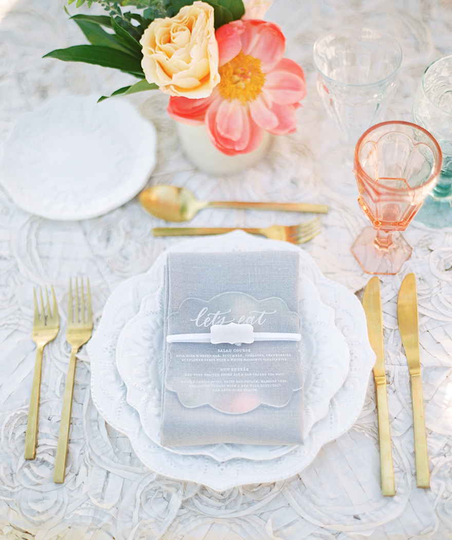 wedding reception with vintage details & pressed glass goblets