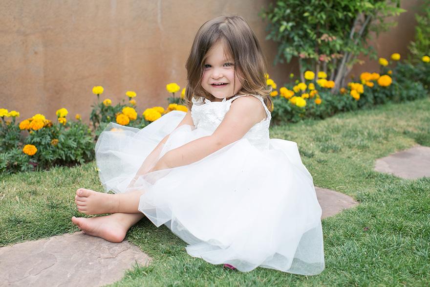 flower girl in white tulle