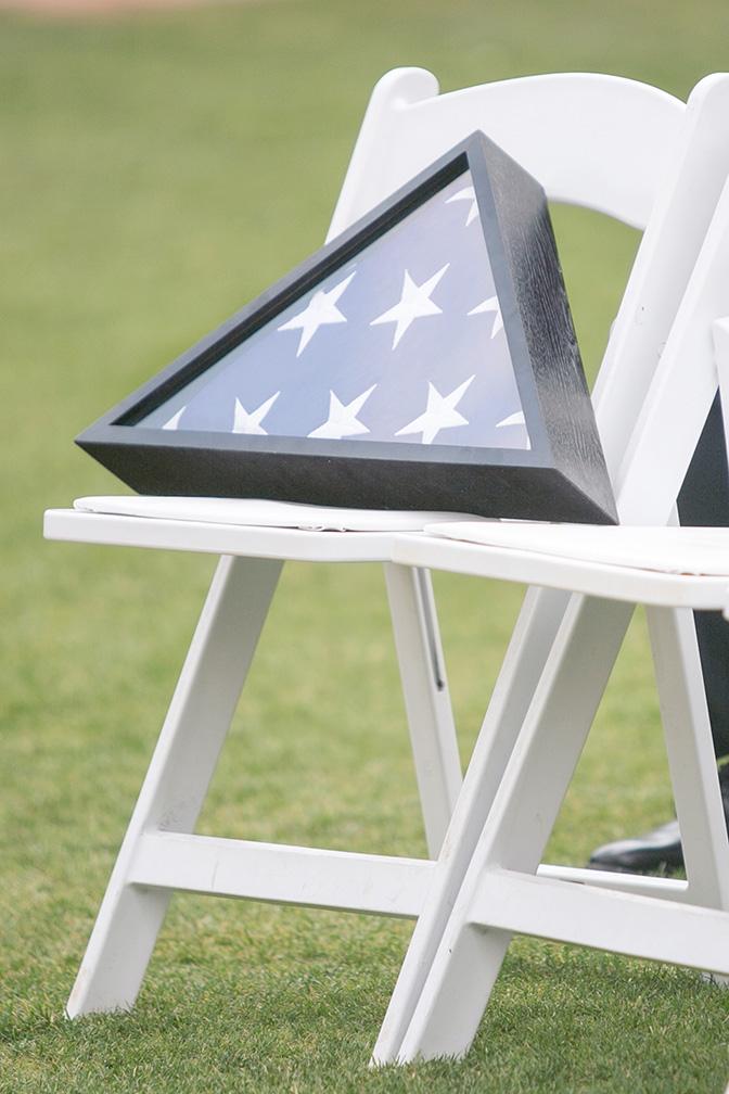 American flag in memorial case