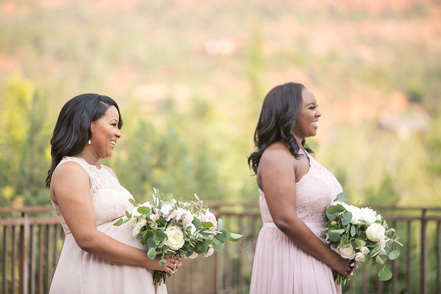 smiling bridesmaids in outdoor wedding at L'Auberge de Sedona