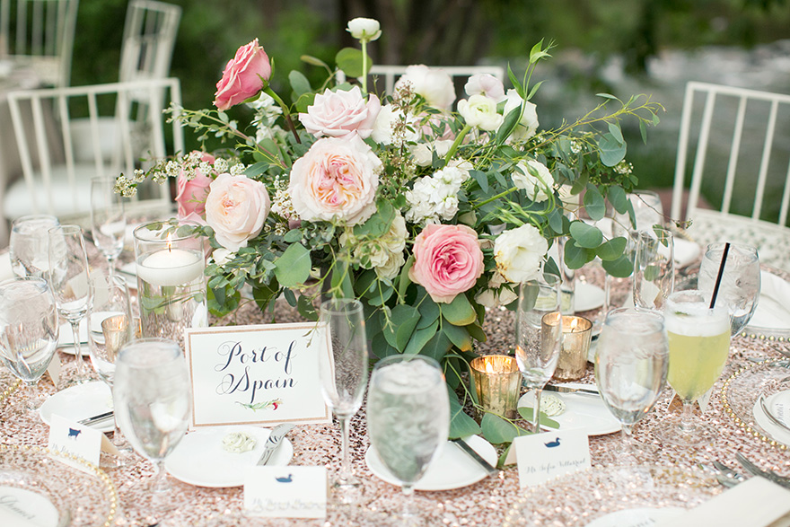 wedding reception with sequined linens and blush flowers