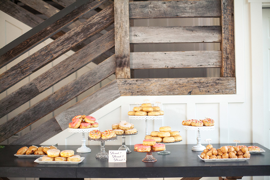 donut table at wedding reception
