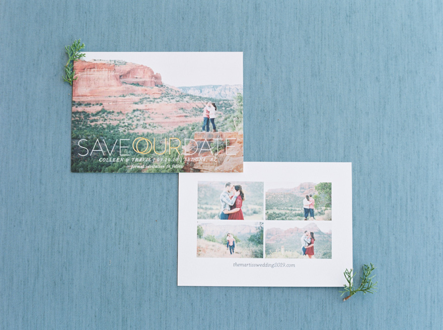 save the date cards for a Sedona wedding