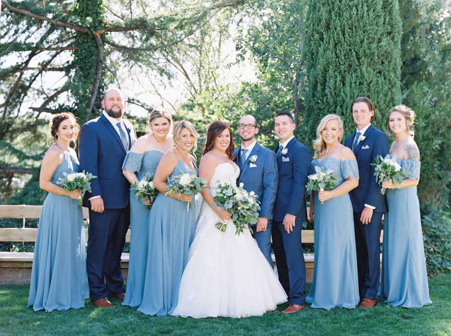 wedding party in shades of blue