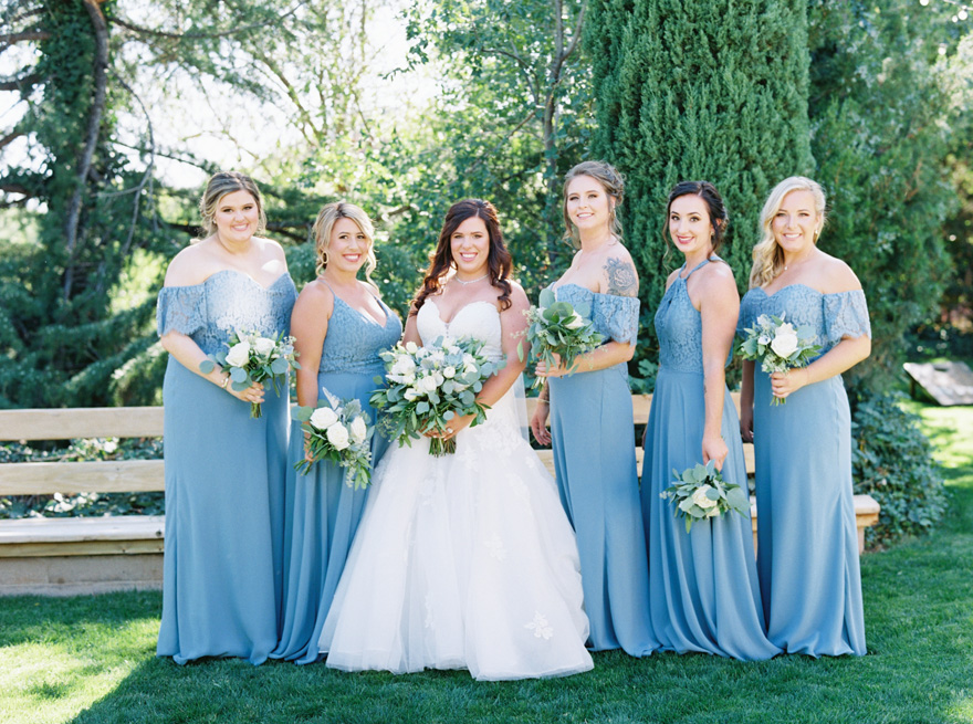 bride & bridesmaids wearing lace