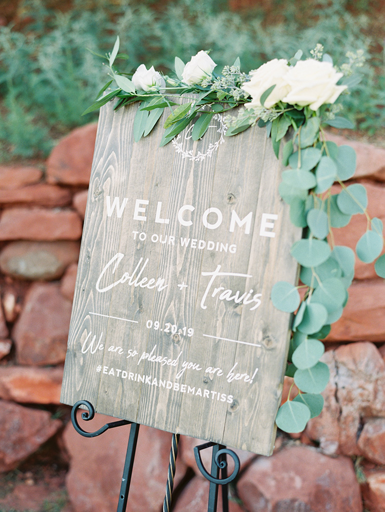 wooden welcome sign for an elegant wedding