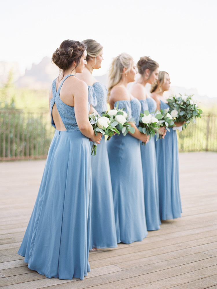 bridesmaids in blue & lace