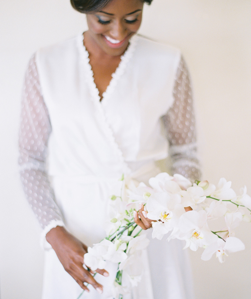 sweet white robe with dotted Swiss sleeves
