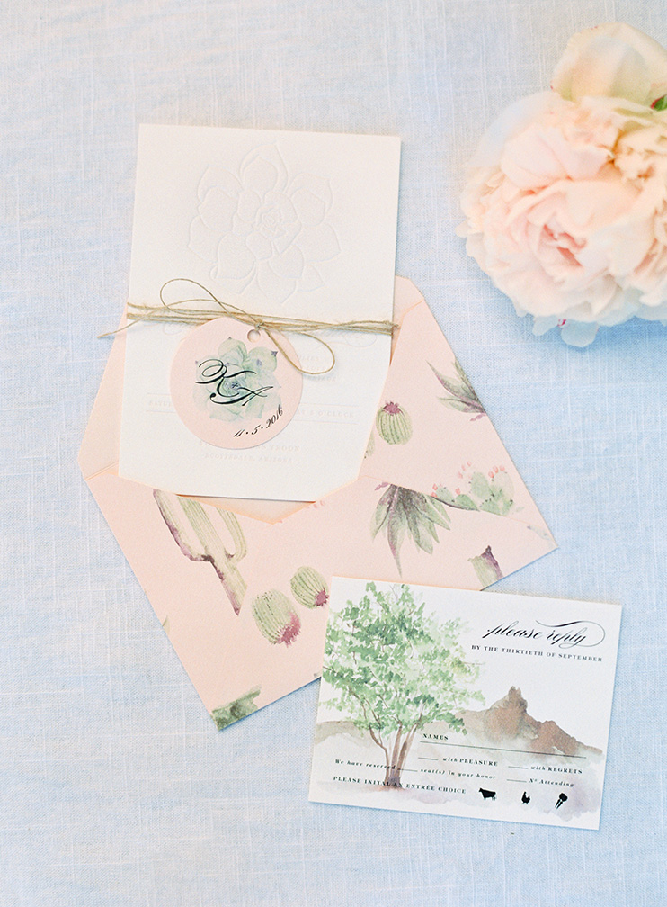 water color illustrations and blind letterpress on wedding stationery by Page & Mason