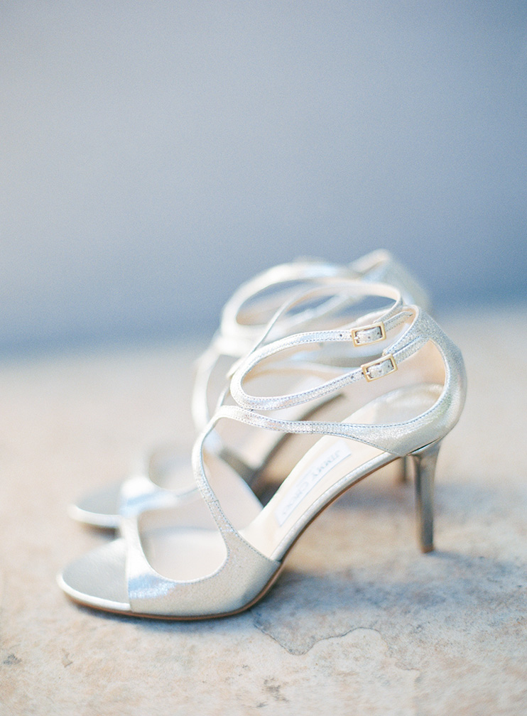 strappy Jumpy Choo heels for the bride