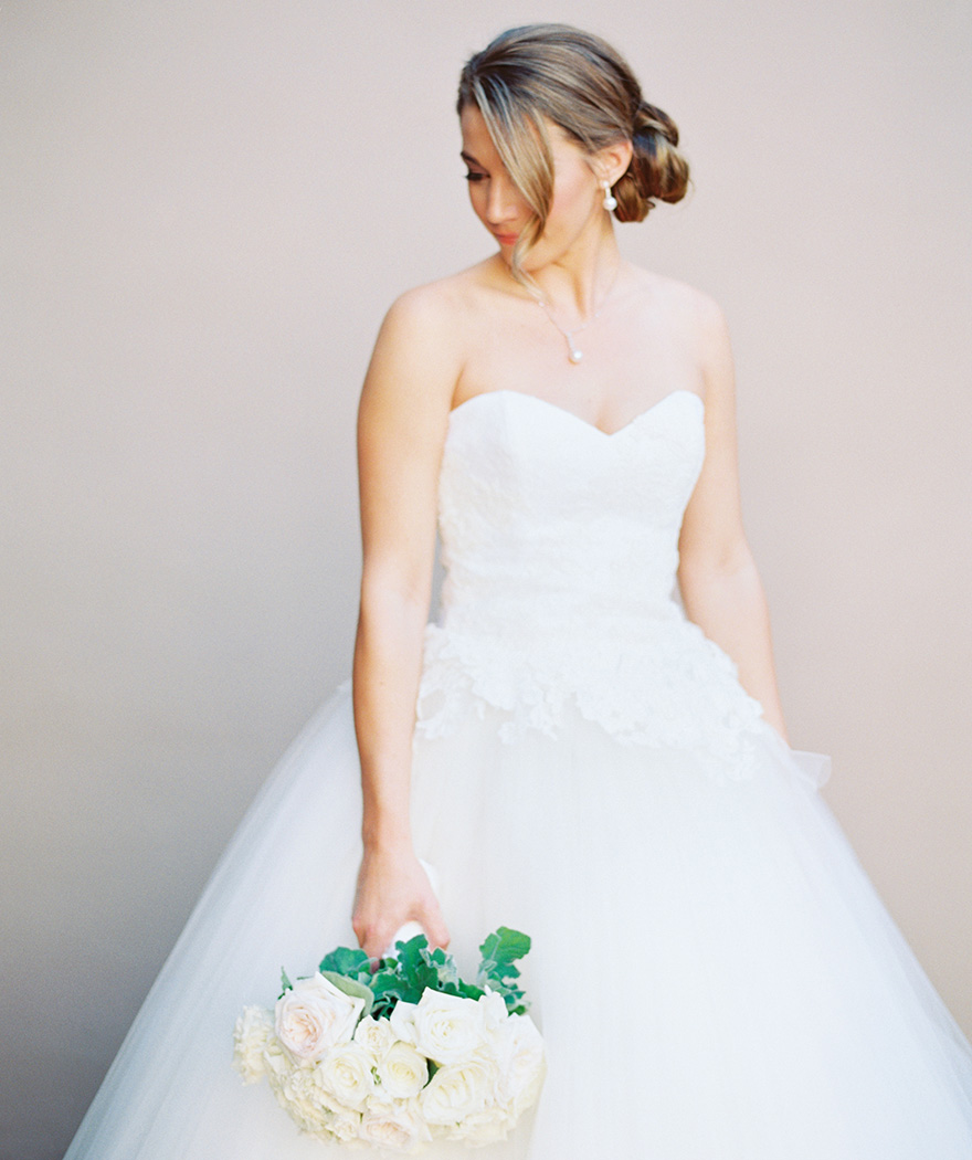 wedding gown with a lace bodice and full tulle skirt