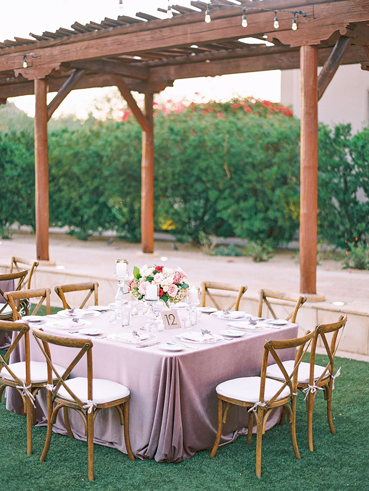 outdoor reception in dreamy pastels
