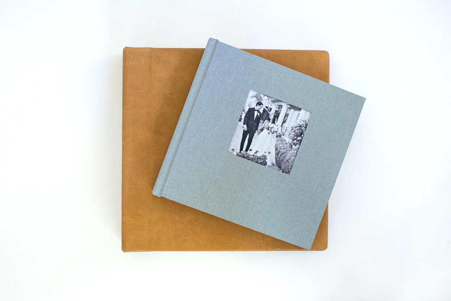 Align Legacy Book in Carob Leather with parent album in Metropolitan Linen