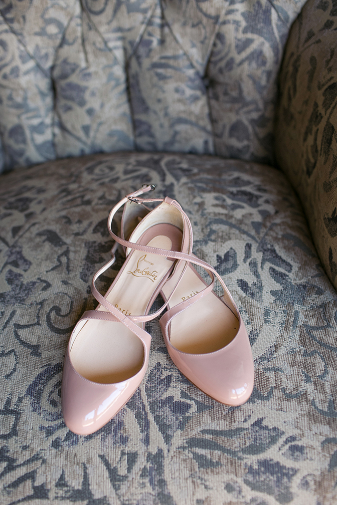 Blush Louboutin wedding shoes, pink shoes for the bride