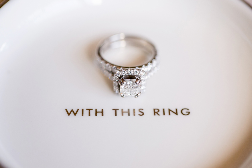 Dramatic engagement ring with large center diamond. Wedding ring dish