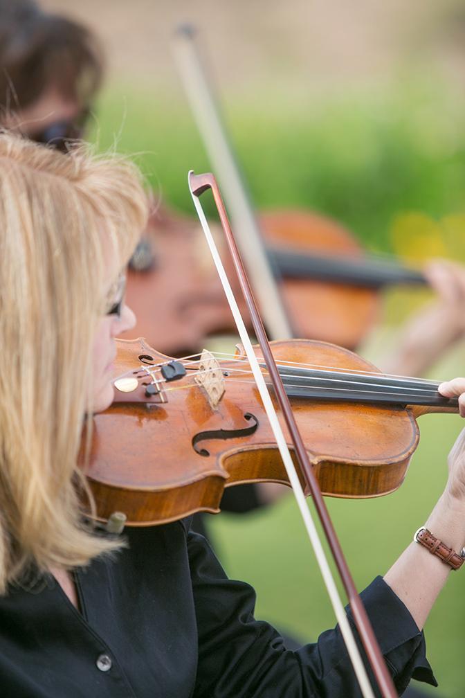 Violin player in a string quartet