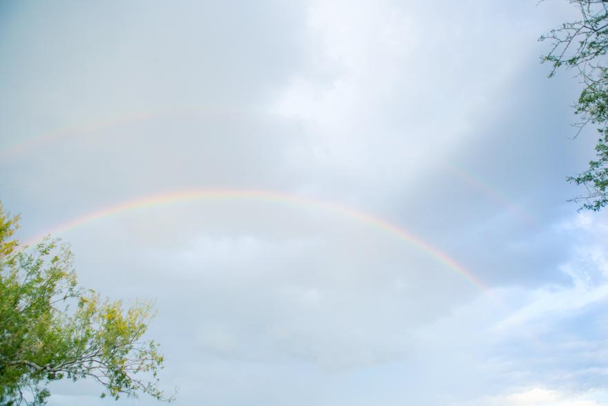 Double rainbow in the Arizona sky