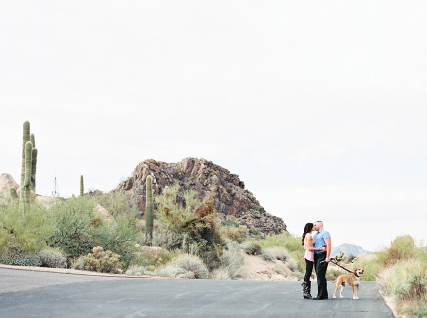 desert engagement photos with the family dog