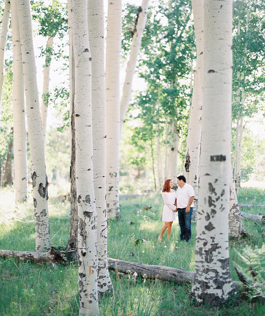 aspen forrest engagement in Flagstaff