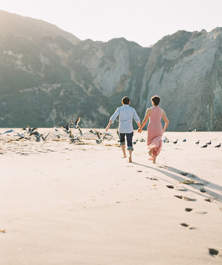 Pointe Dume beach engagement photos
