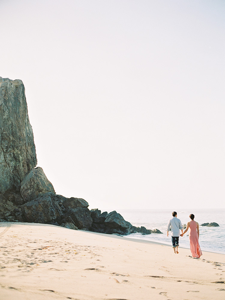 beach engagement in Malibu, California
