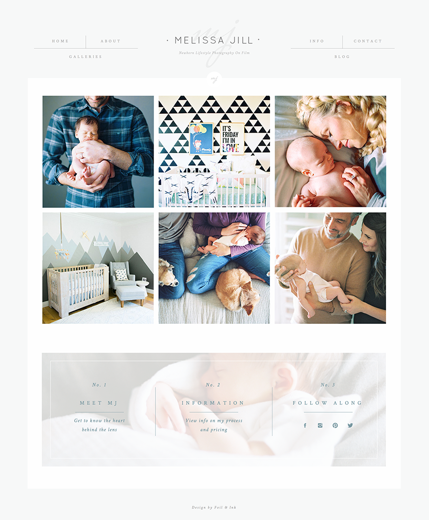 Melissa Jill Newborn Lifestyle Photography website -- Design by Foil and Ink