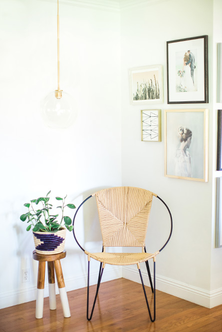 rattan chair and paint-dipped wooden stool