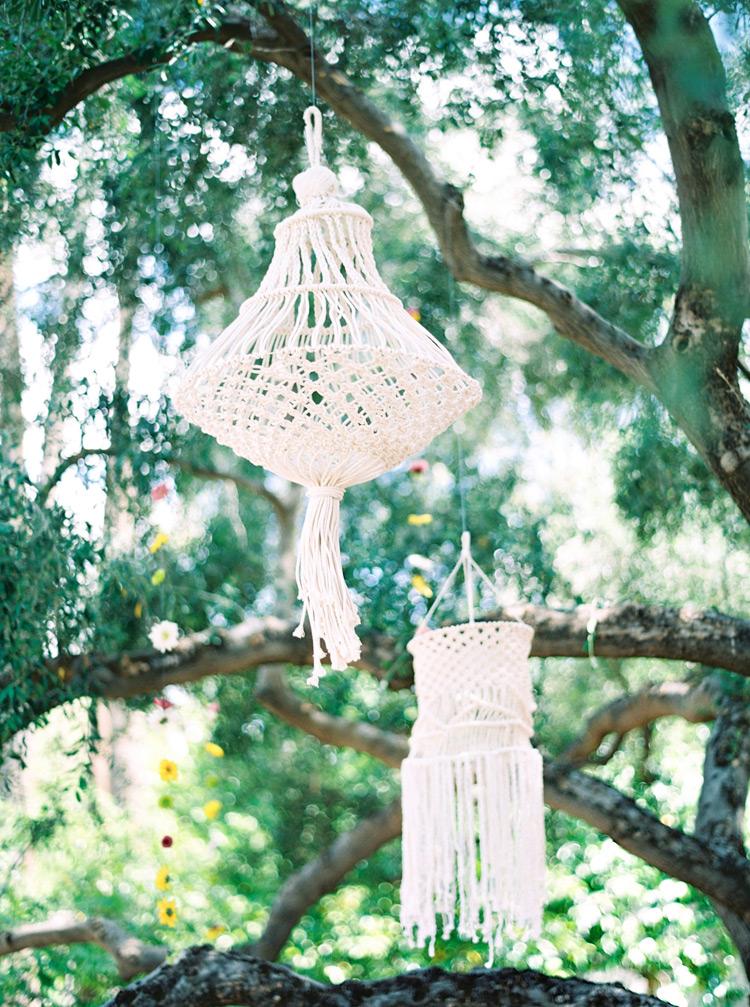 macrame chandeliers for outdoor wedding
