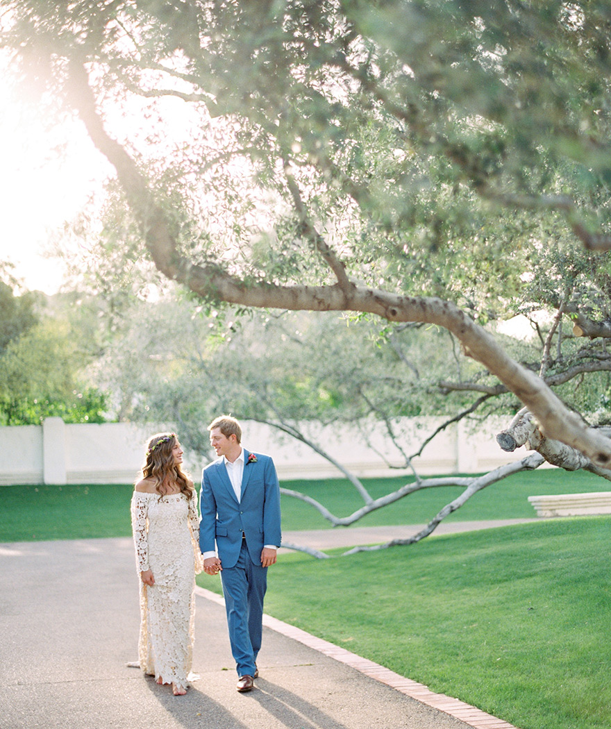 bohemian off the shoulder wedding dress by Dreamers and Lovers
