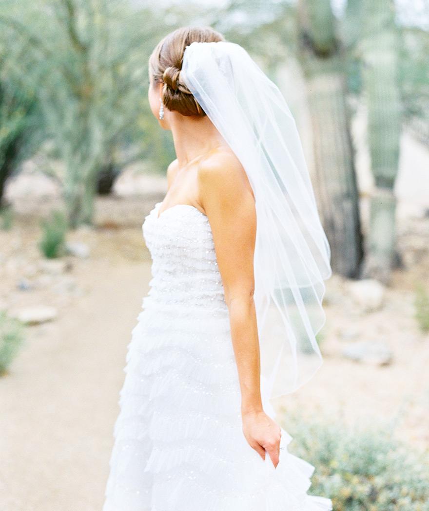 Lazaro strapless wedding gown and veil
