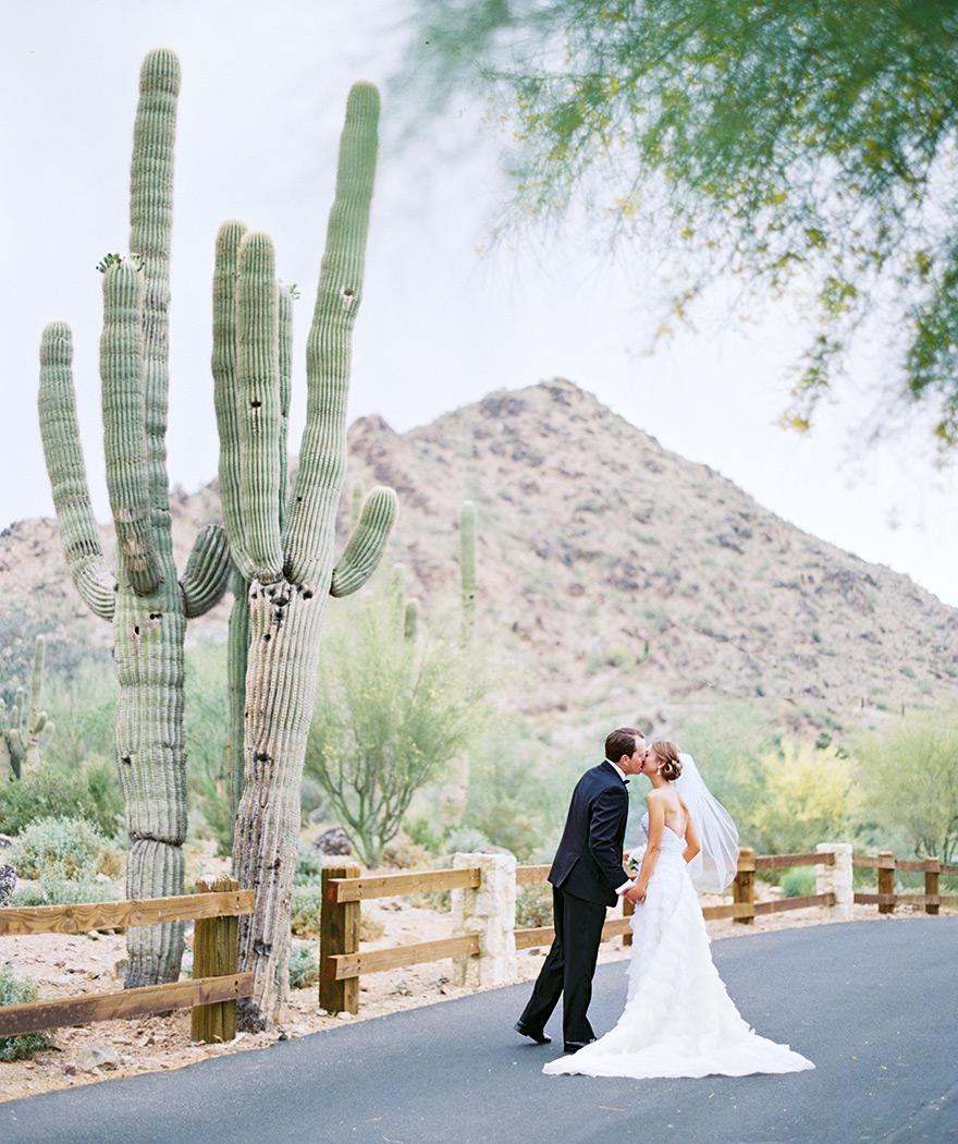 desert wedding with giant saguaro cactus