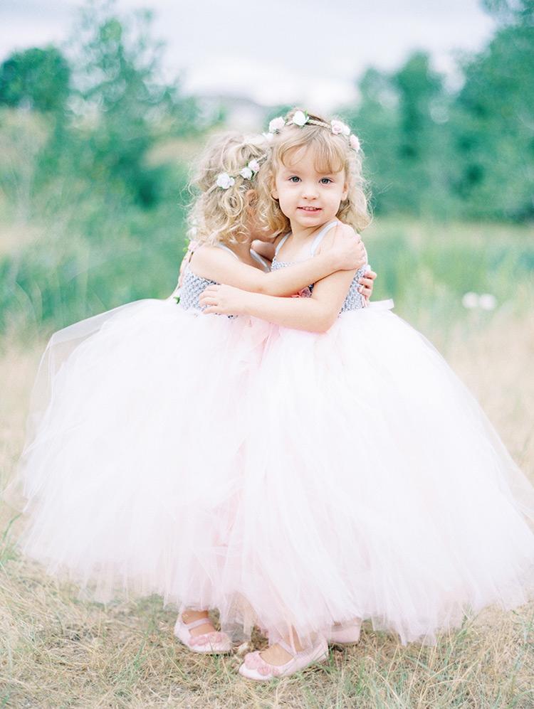flower girls in blush tulle