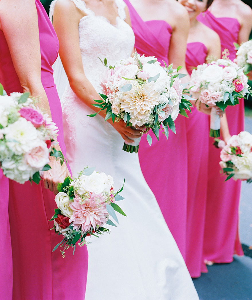 bridesmaid bouquets with giant dahlias