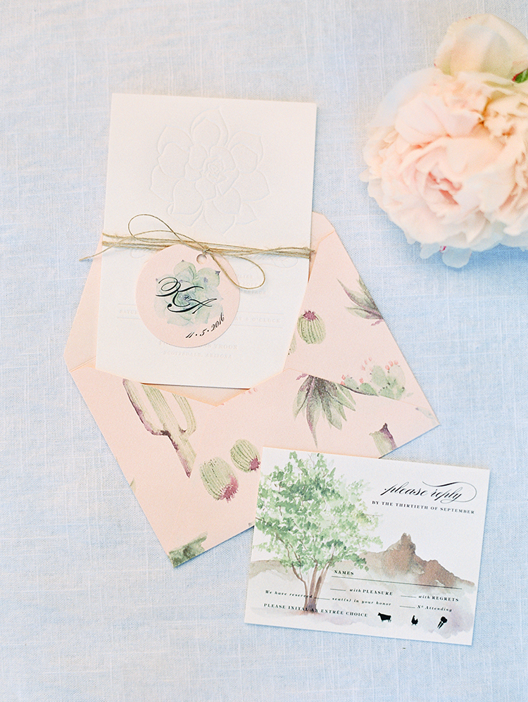 watercolor desert and cactus themed wedding invitation