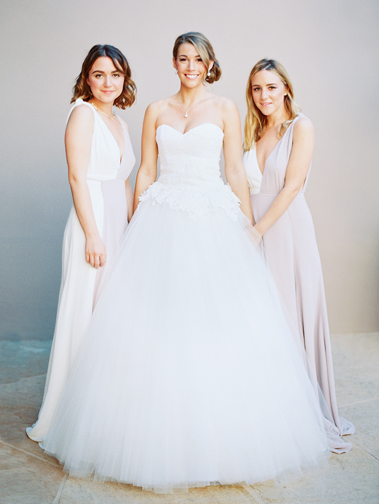 lace and tulle ball gown wedding dress and bridesmaids in ivory and lavender