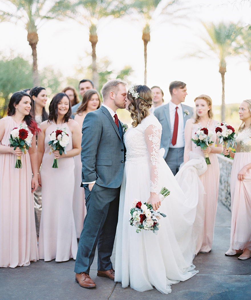 bridal party in blush and gray