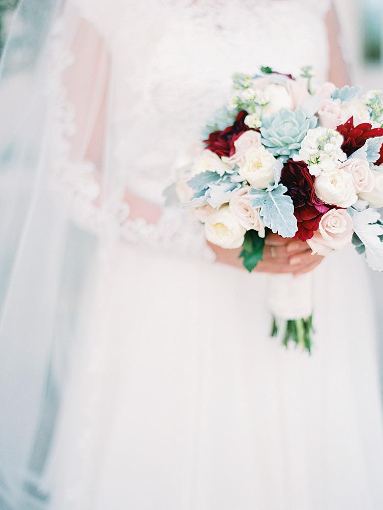 blush, burgundy, and succulent bouquet