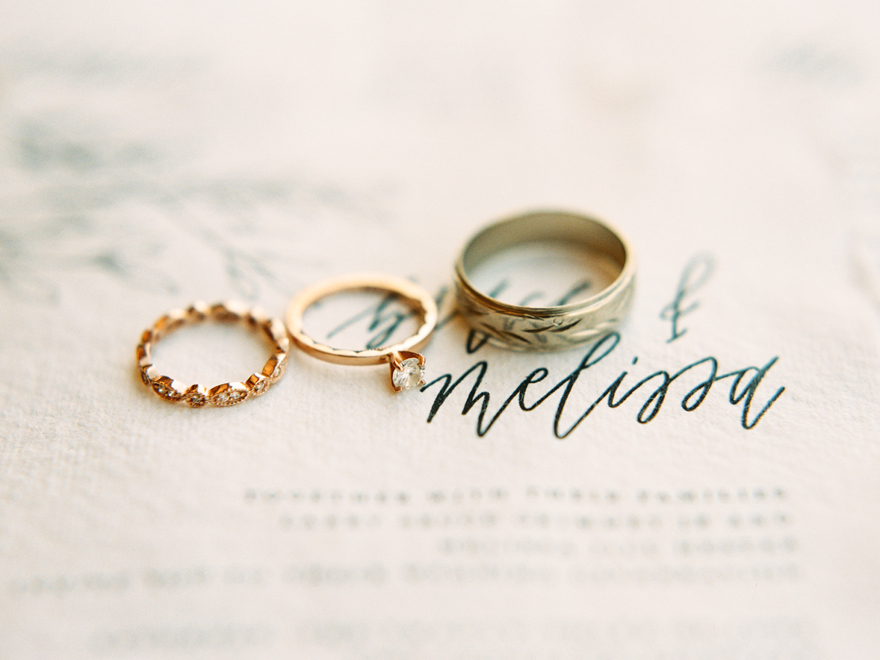 rose gold and diamond rings for her, and etched wedding band for him
