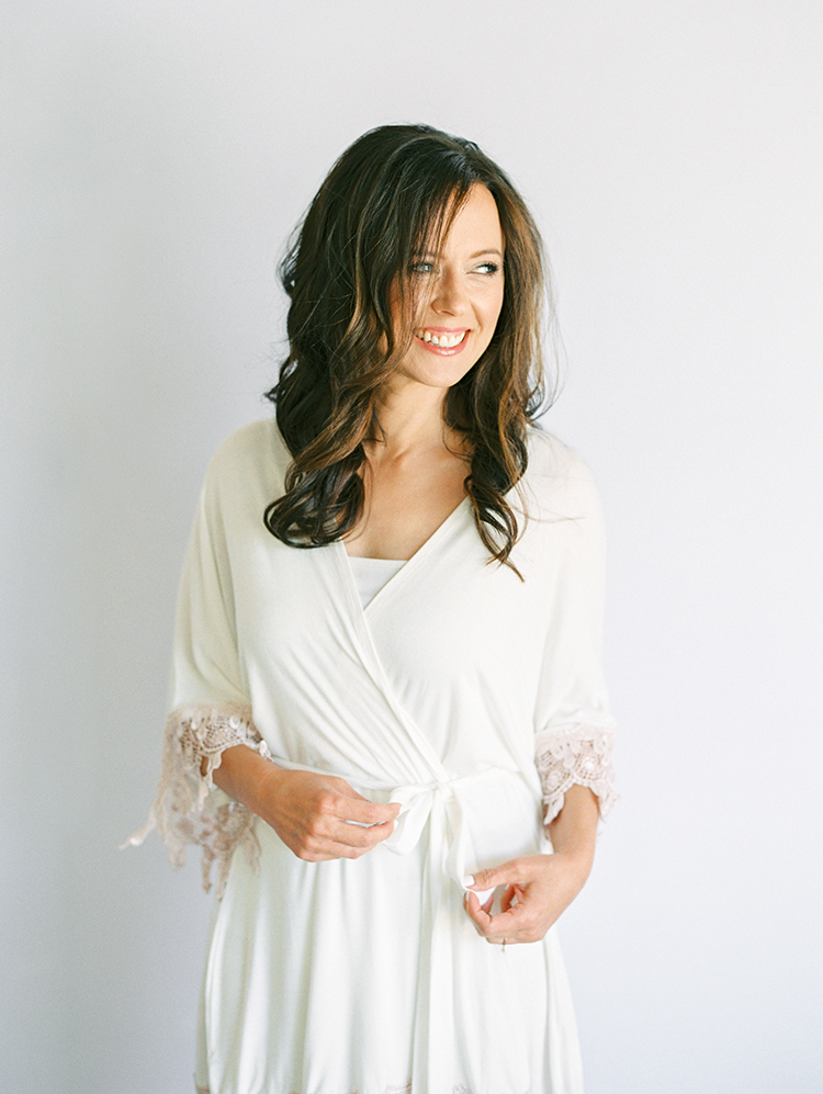 bride in a robe from Plum Pretty Sugar