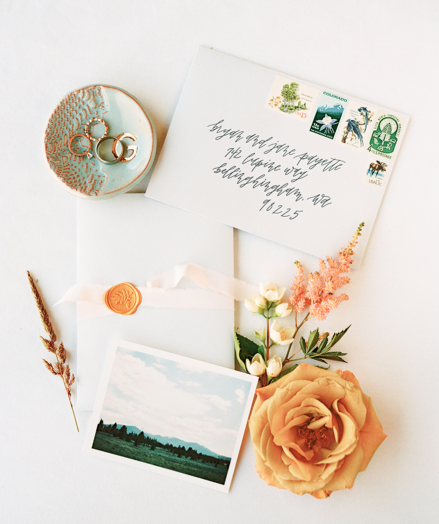 invitation suite with photo print, wax seal, and hand lettering