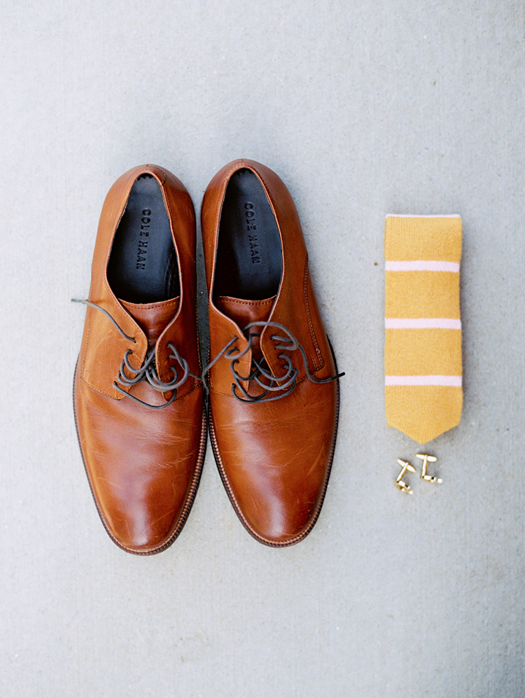 brown leather shoes, knit tie, and cufflinks for the groom