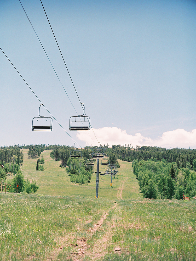 skilift in the Colorado mountains in summer