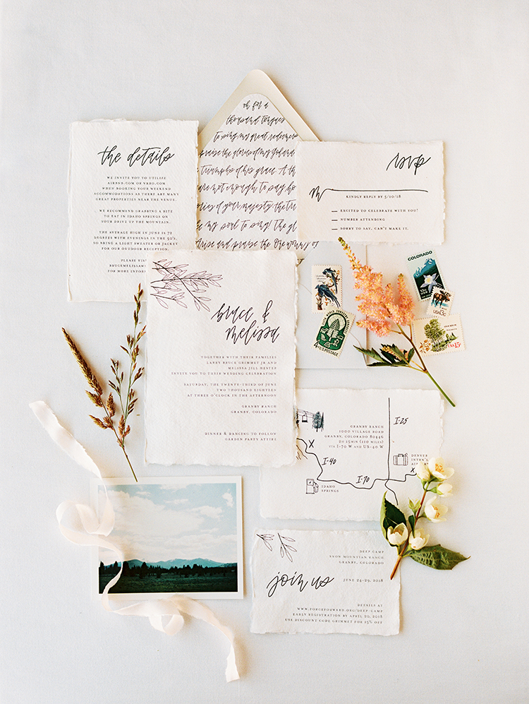 wedding invitation suite on handmade paper, with hand-drawn elements